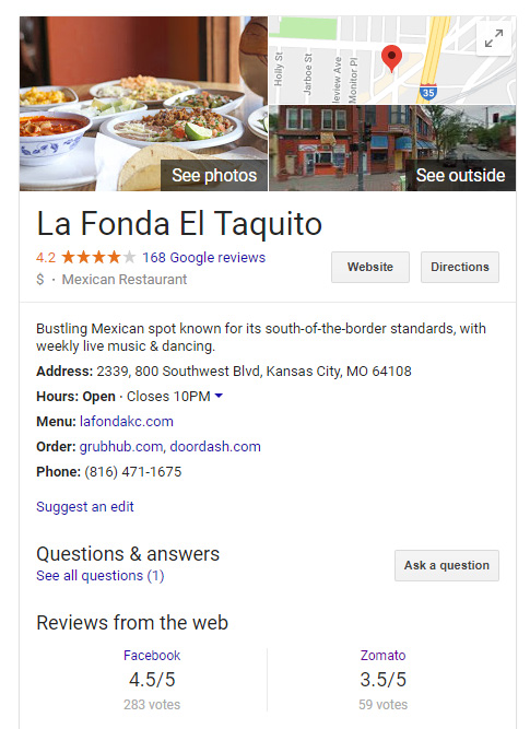 google my business page for a restaurant