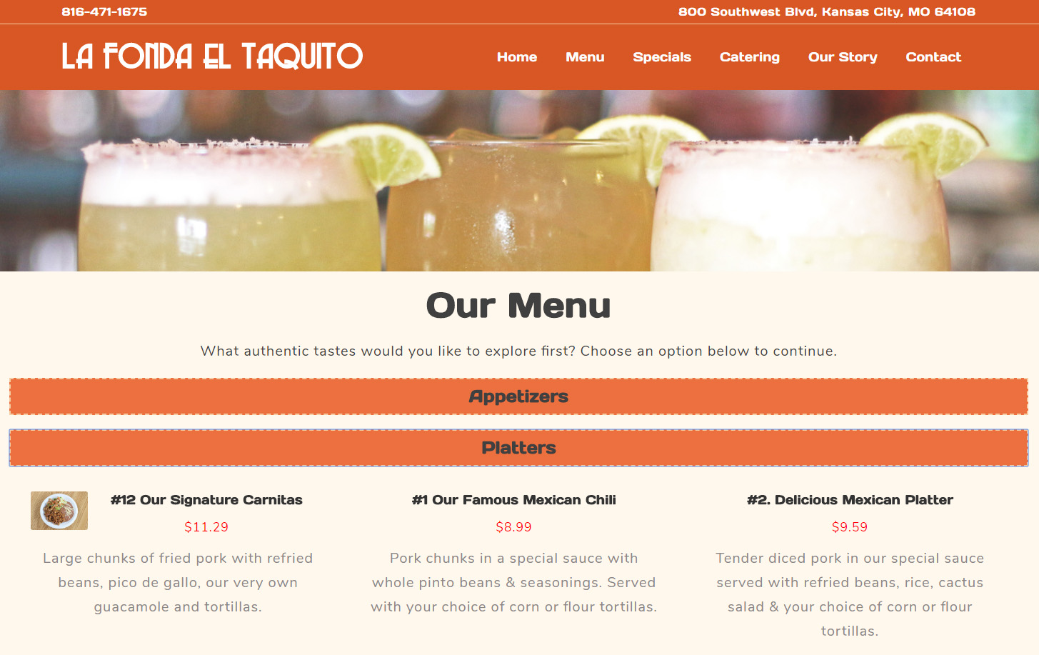 mexican restaurant web design menu
