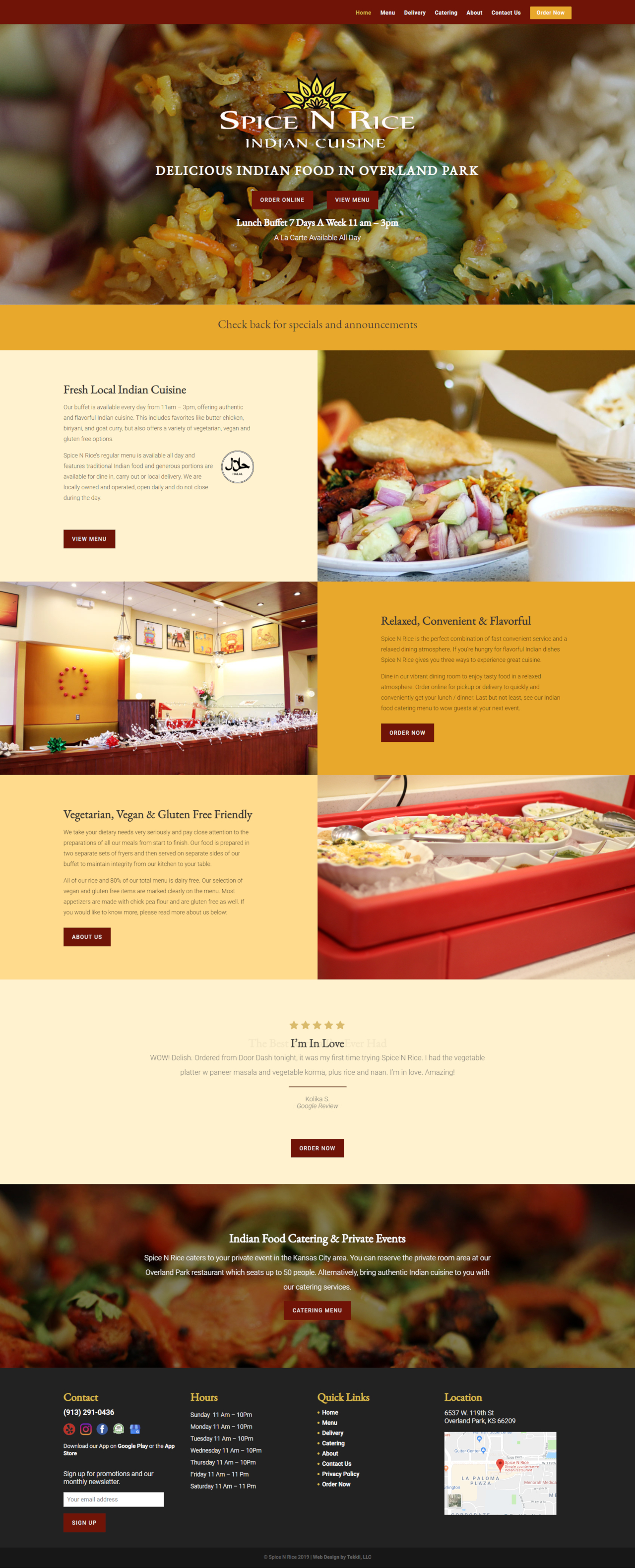 indian restaurant web design for spice n rice