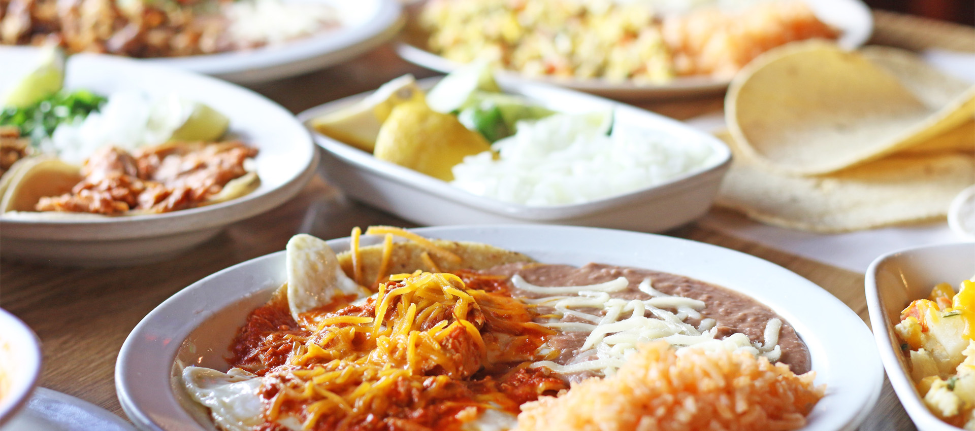mexican food photography of assorted entrees