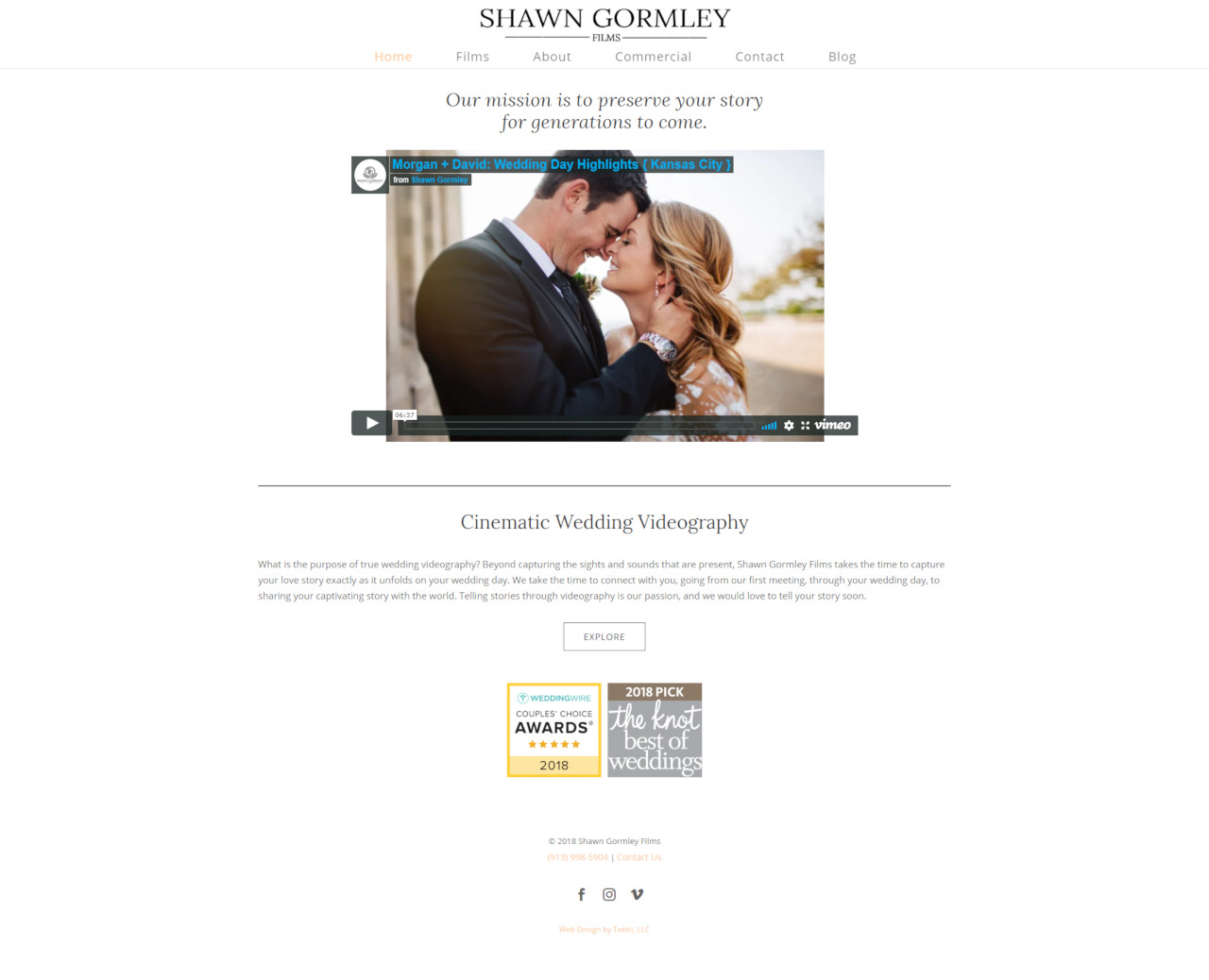 wedding videography website design