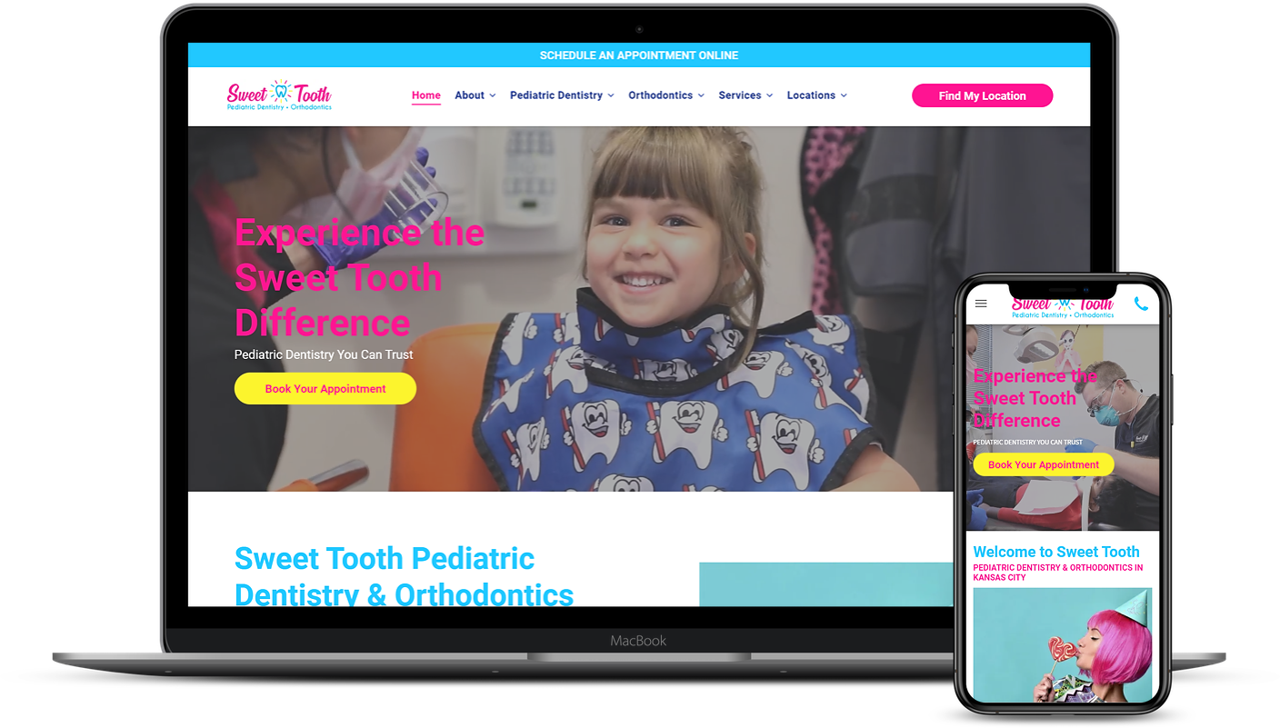 sweet tooth pediatric dentistry and orthodontics website design