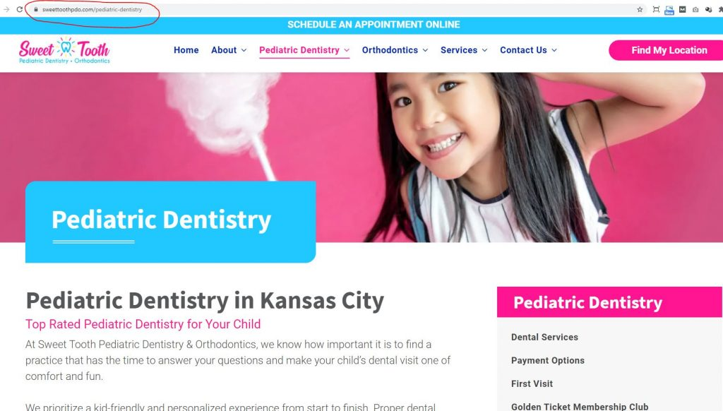 sweet tooth url page example